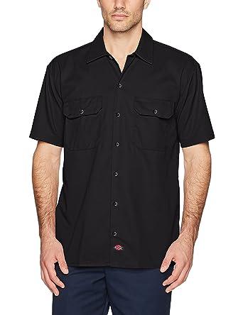 Amazon.com: Dickies Men's Short-Sleeve Work Shirt, Black, Medium ...