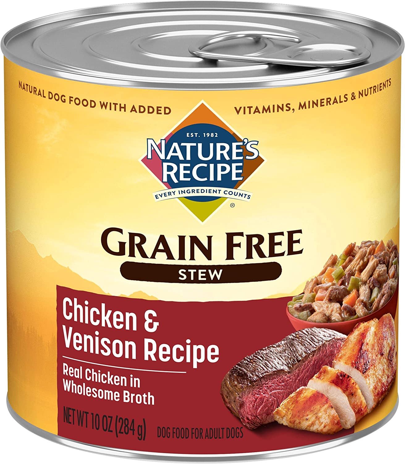 Nature's Recipe Grain Free Wet Dog Food Stew Formula, 10 Ounce Cans (Pack of 12)