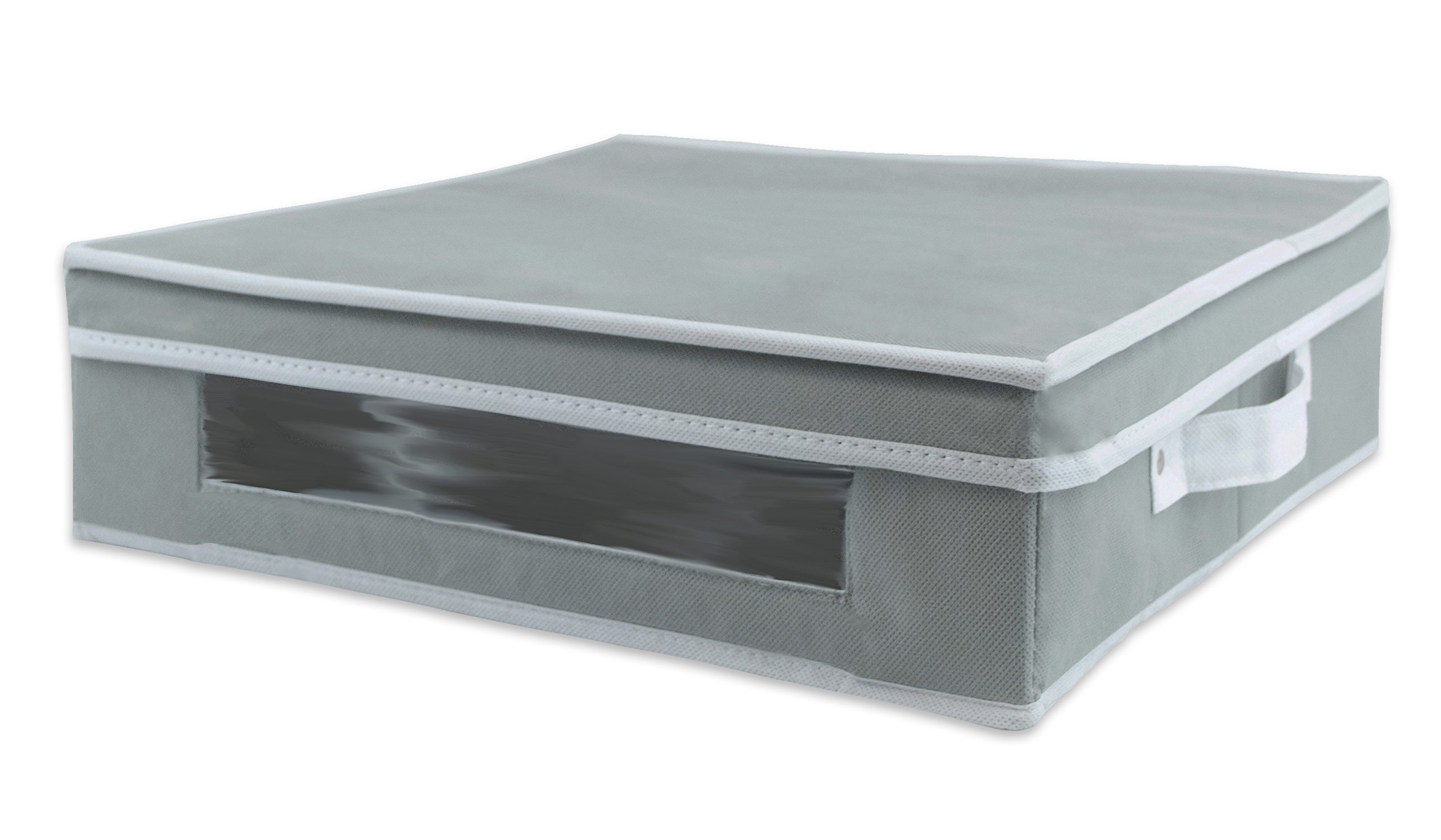 DII Large Plate Storage Bin with Separators for Protecting or Transporting Dinnerware or Fragile China - Gray