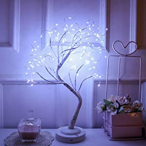 FUCHSUN Led Birch Tree Light Tabletop Bonsai Tree 20 Inches Decorative Fairy Light Artificial Tree Battery Operated Twig Lamp for Party Wedding Holiday Festival Christmas Decoration - White