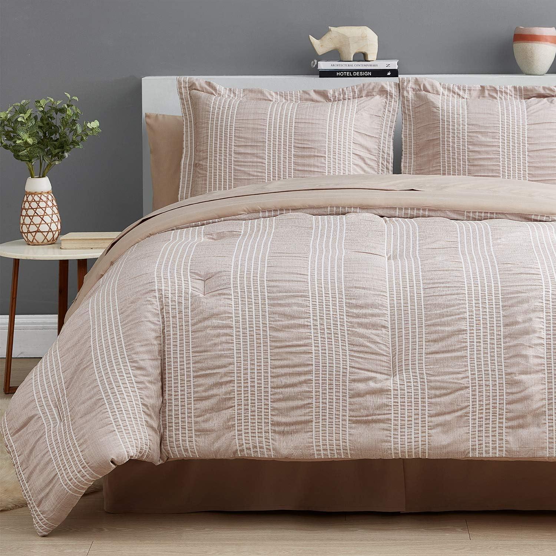 Bedsure Full/Queen Comforter Set 8 Piece Bed in A Bag Stripes Seersucker Soft Lightweight Down Alternative Khaki Bedding Set 88x88 inch