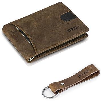 24e4f898ce1179 Kreditkartenetui Geldklammer aus Leder - Kartenetui - minimalistisch flach  mit RFID - Schutz und Schlüsselanhänger -