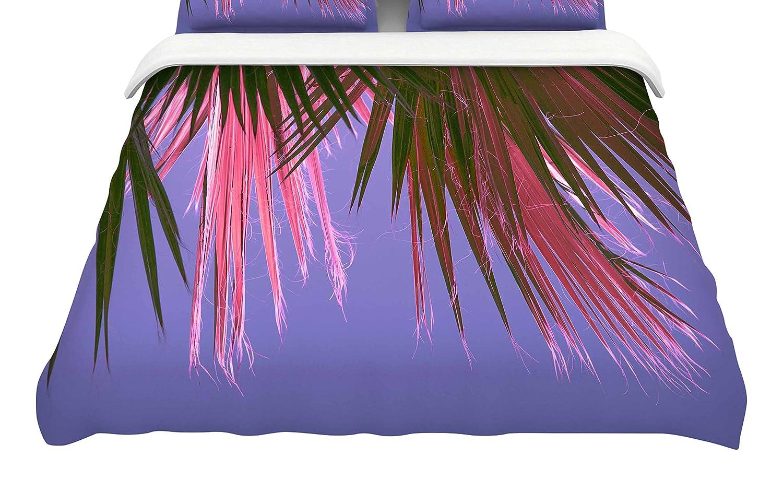 104 by 88-Inch Kess InHouse Ann Barnes Neon Jungle Purple Green King Cotton Duvet Cover