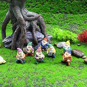 Xgood Seven Dwarfs Decoration Gnome Figurine Novelty Garden Ornaments Fairy Garden Accessory Disney Traditional Statue Decorations Micro Landscape Decoration