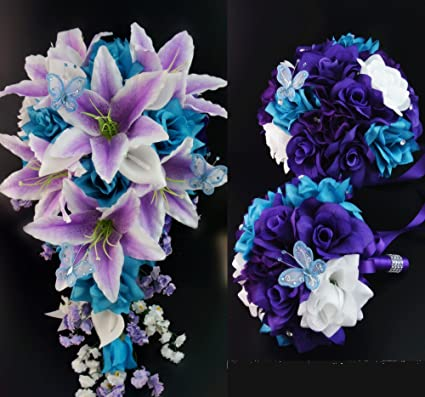 Amazon Com 21pc Turquoise Purple And White Artificial Flower