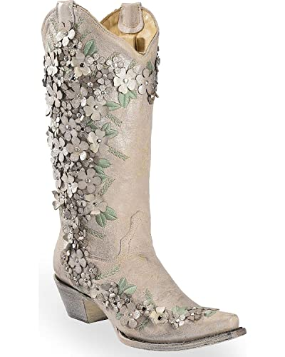 41c935f0383 CORRAL Women's White Floral Overlay Embroidered Stud and Crystals Cowgirl  Boot