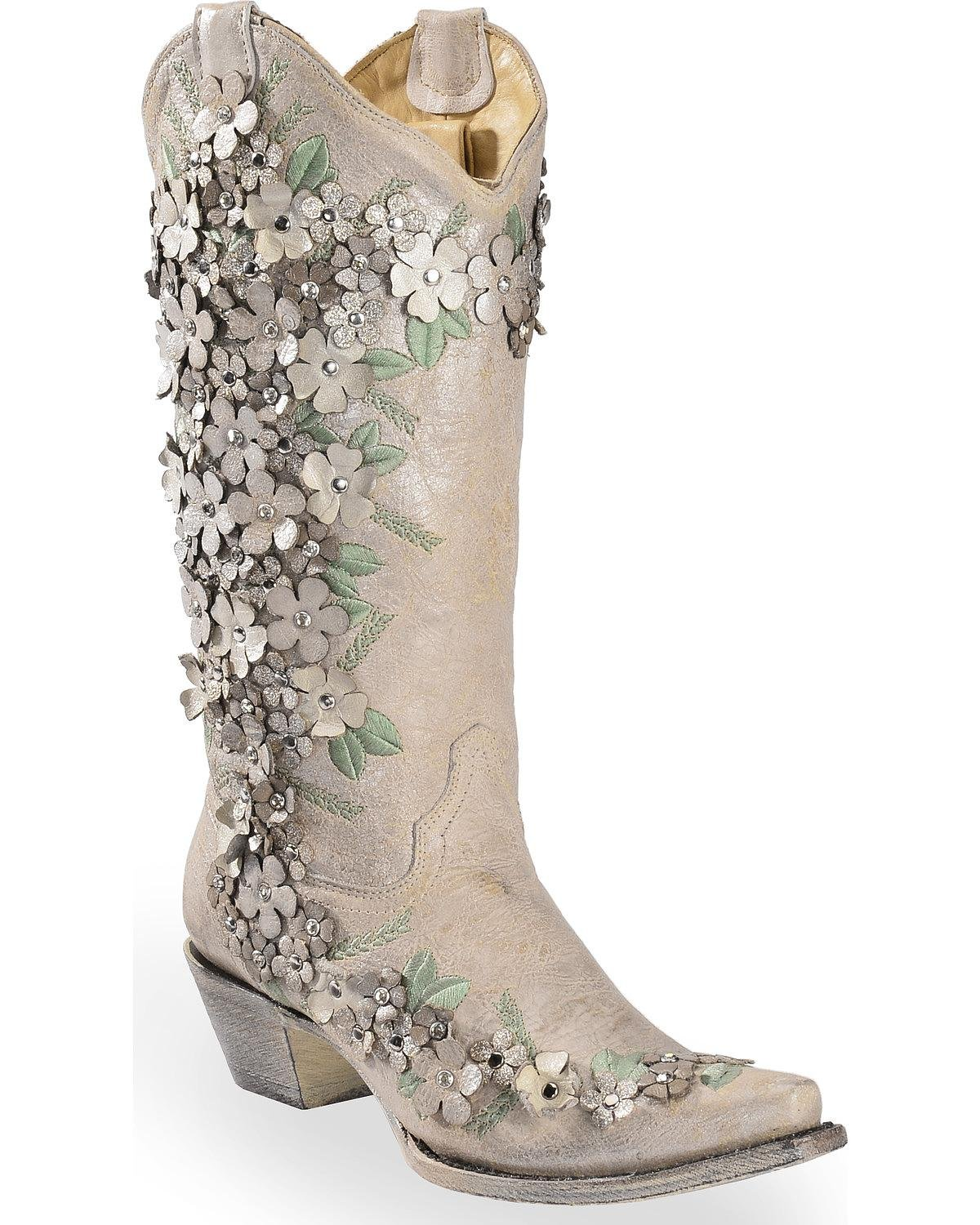 CORRAL Women's White Floral Overlay Embroidered Stud and Crystals Cowgirl Boot White 8.5 M