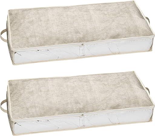 Juego de 2 bolsas de plástico para guardar ropa de cama, almohadas, etc. – Caja de almacenamiento,
