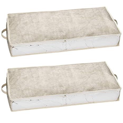 Juego de 2 Cajas de Almacenamiento para Colocar Debajo Bolsa de plástico para edredones, Almohada, etc. – Caja, cubrecama de Caja, Funda Grande, Cama ...