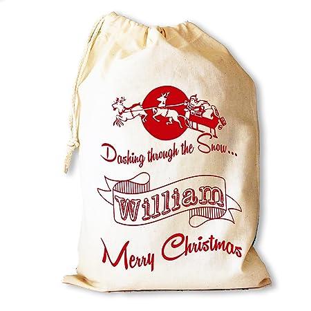 c40ed703b Personalised Christmas Dashing through the snow Santa Sack stocking gift  bag  Amazon.co.uk  DIY   Tools