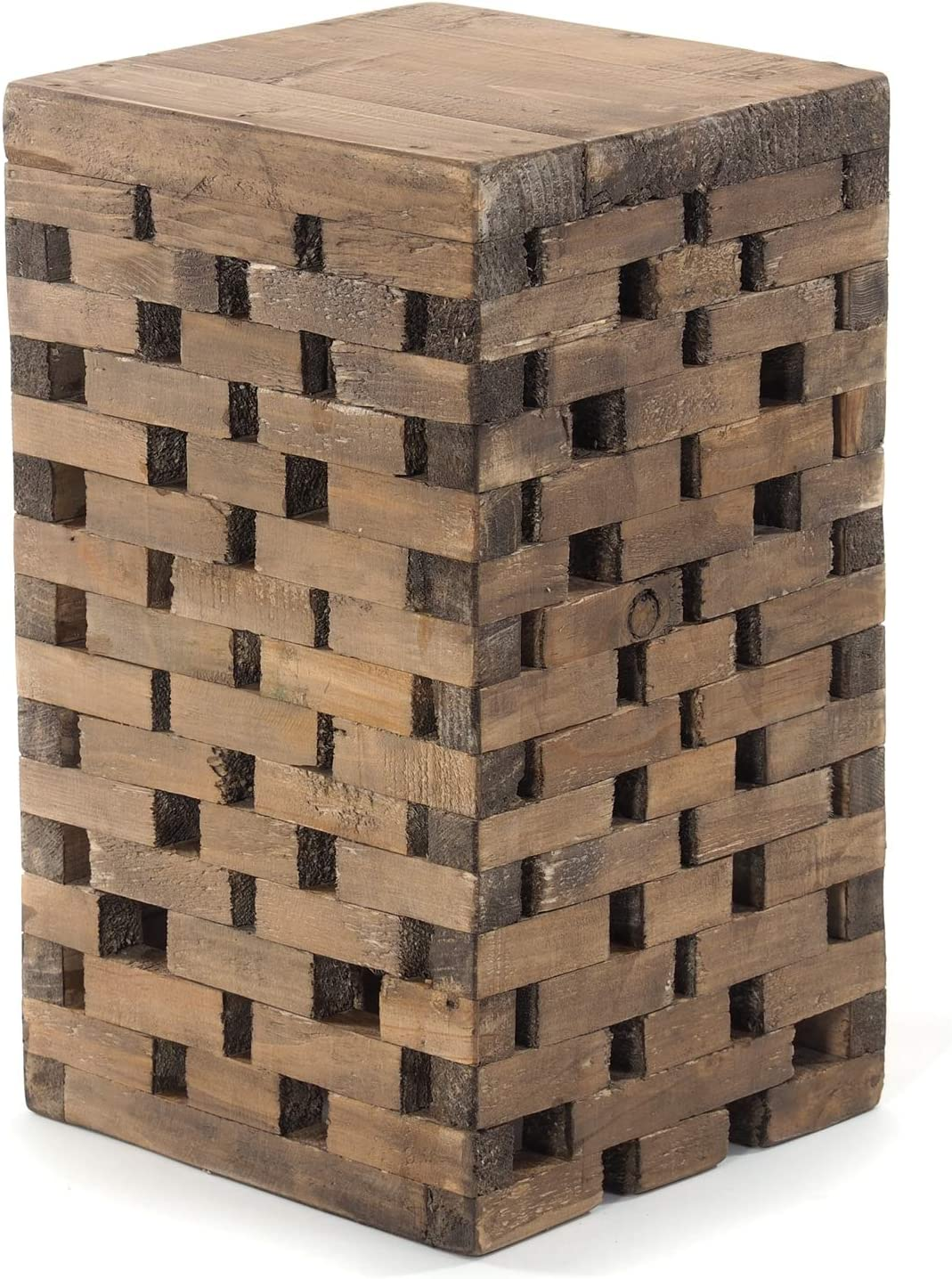 DESIGN DELIGHTS RUSTIKALER Holz HOCKER Bricks | 48cm(H