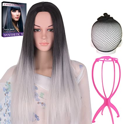 Emmet largo pelucas de pelo Ombre color recto Natural fibra kanekalon sintético de alta calidad peluca