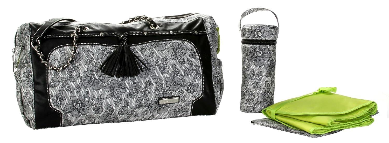 dise/ño estampado Kalencom Set de bolso cambiador color negro y blanco