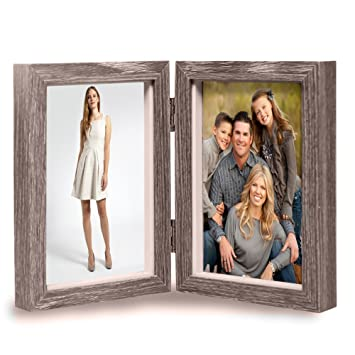 Vintage Wood Picture Frame, Rustic Double Hinged Double Wooden Picture Frame,  Vertical Stand Photo