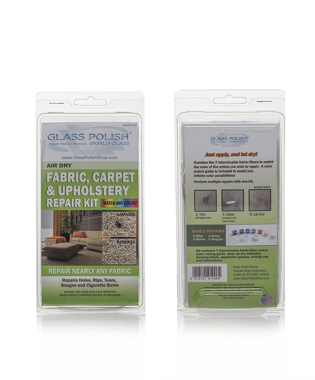 Glass Polish Tela alfombras y tapicería Reparaciones - Kit de Bricolaje reparación pequeños Agujeros, Cortes, Fumar, rasguños, Marcas