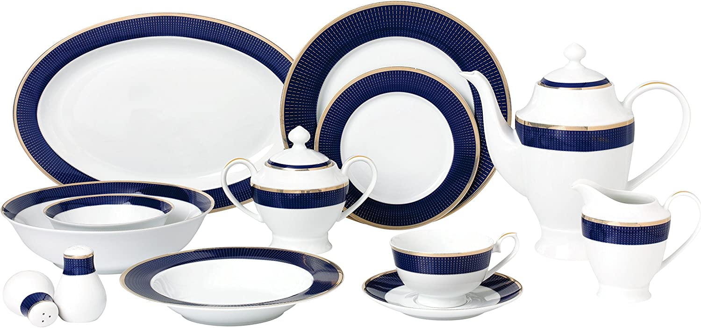 Lorren Home Trends Midnight-57 57 Piece Dinnerware Set-Bone China Service for 8 People-Midnight, Blue