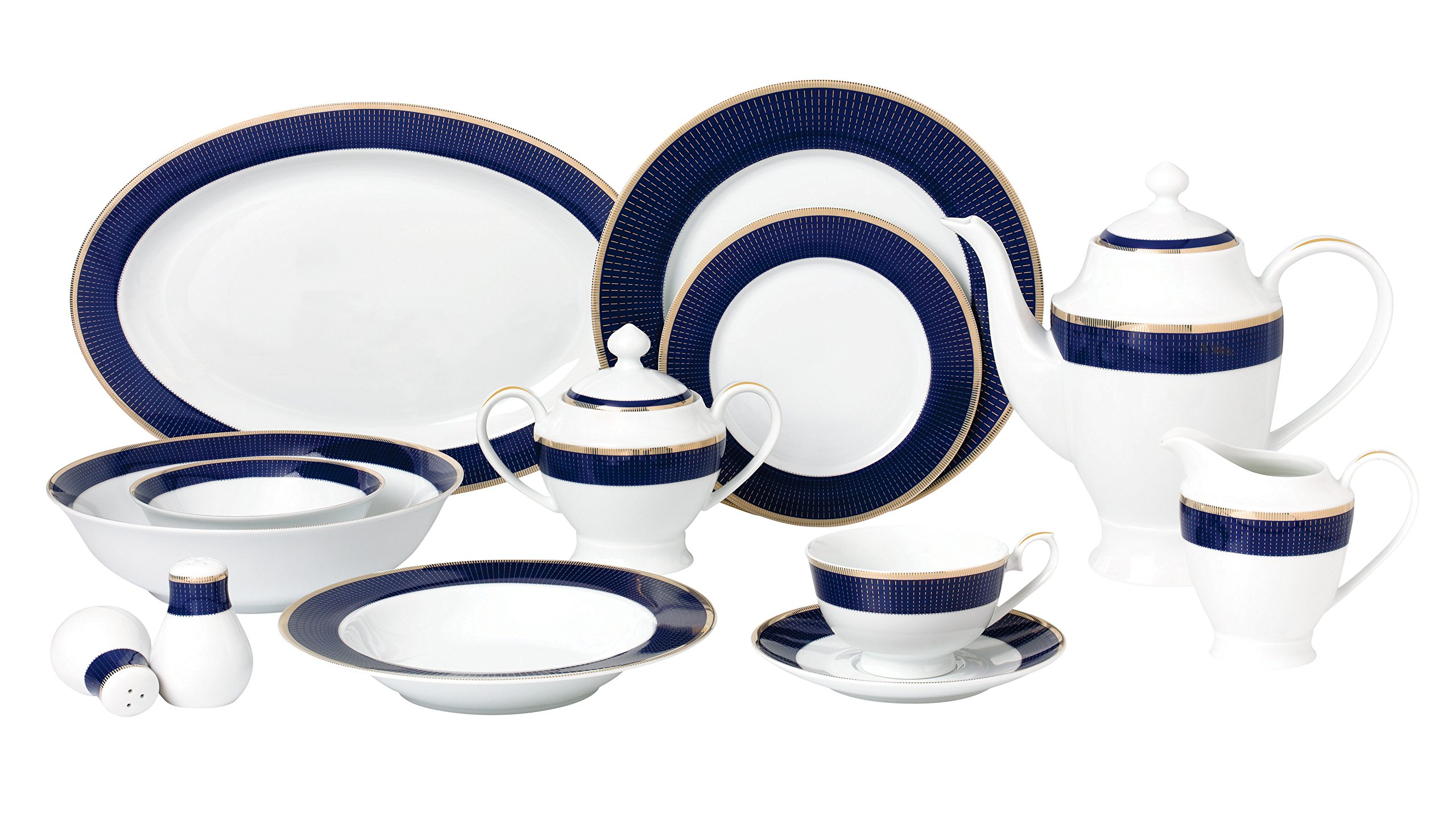 Lorren Home Trends 57 Piece 'Midnight' Bone China Dinnerware Set (Service for 8 People), Blue