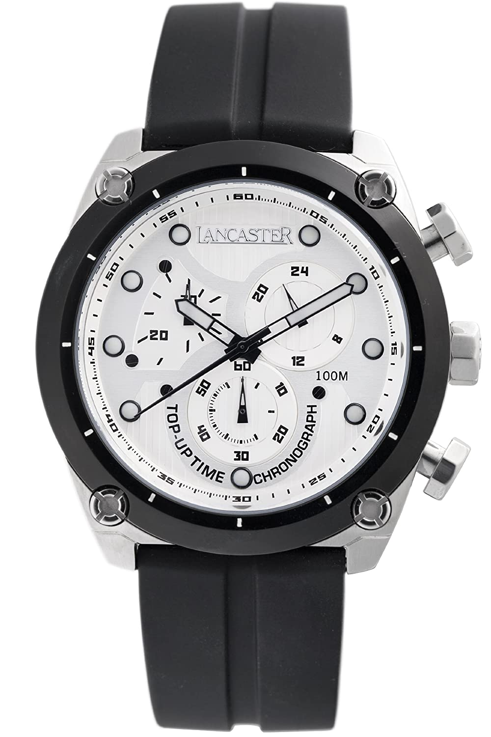 Lancaster Herren OLA0380BN Top Up Time Chronograph Black Dial Silikon Uhr