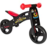 BIKESTAR® Early Bird Kids Balance Bike for cheeky toddlers aged from approx. 18 Month ★ 7s Naturally Wood Edition ★ Diabolic Black Pirate Design
