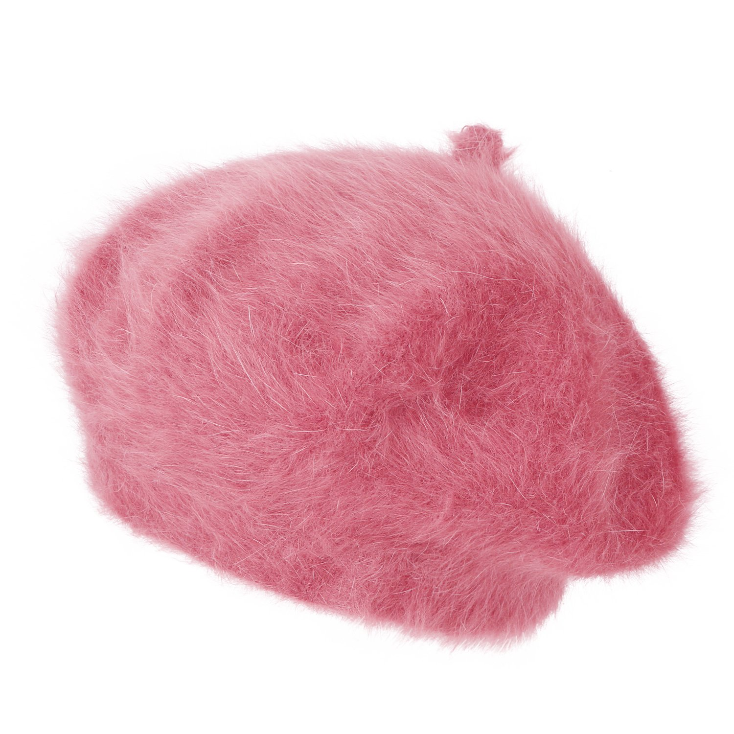 ililily Solid Color Angora French Beret Furry Artist Flat Winter Hat, Pink