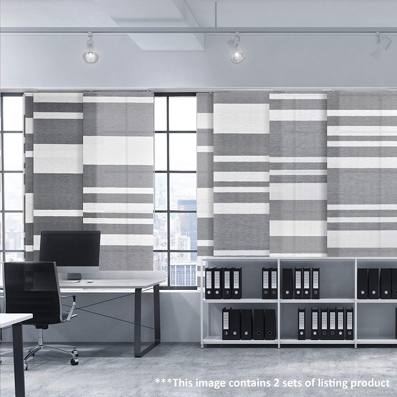 Digital Art Prints Shimmering Natural Woven Fabric Sheer Gallop Horse Ink Wash Painting GoDear Design Deluxe Adjustable Sliding Panel Track Blind 45.8-86 W x 96 H Light Filtering