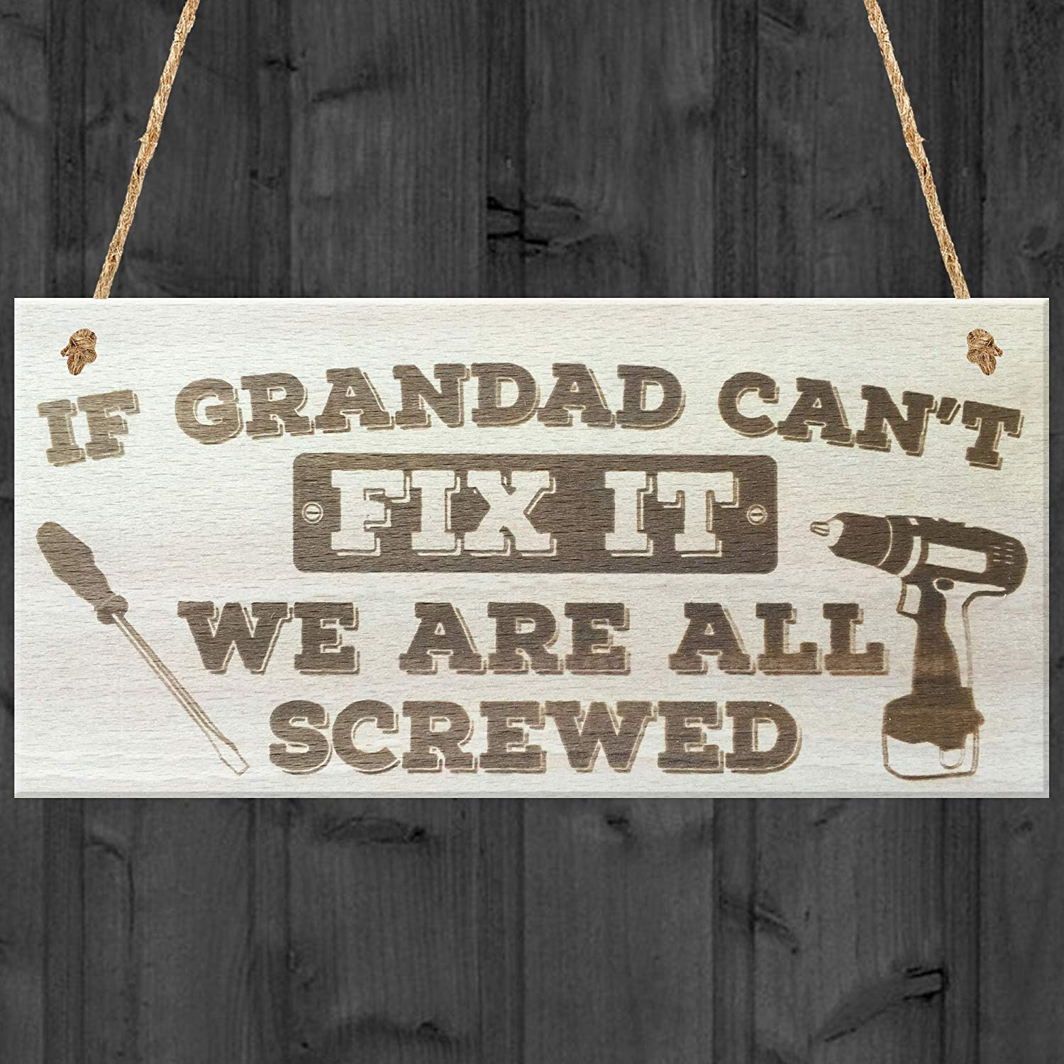 If Papa can/'t fix it WE/'RE SCREWED sign wood plaque Dad Grandpa fathers day gift