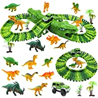 Diealles Shine Pista de Dinosaurios con Dinosaurios Juguetes, 153 Pcs Pista de Carreras de Coches, Regalos Cumpleaños…