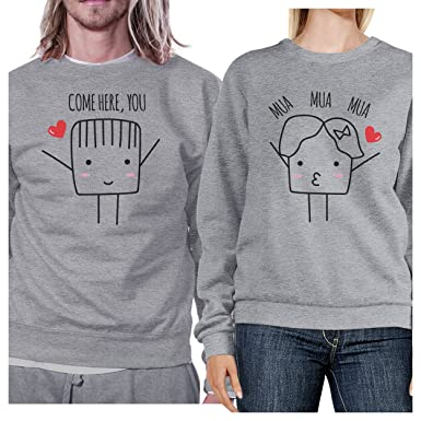 Left- S//Right- 2XL Grey 365 Printing Opposites Attract Symbols Funny Matching Sweatshirts for Couples