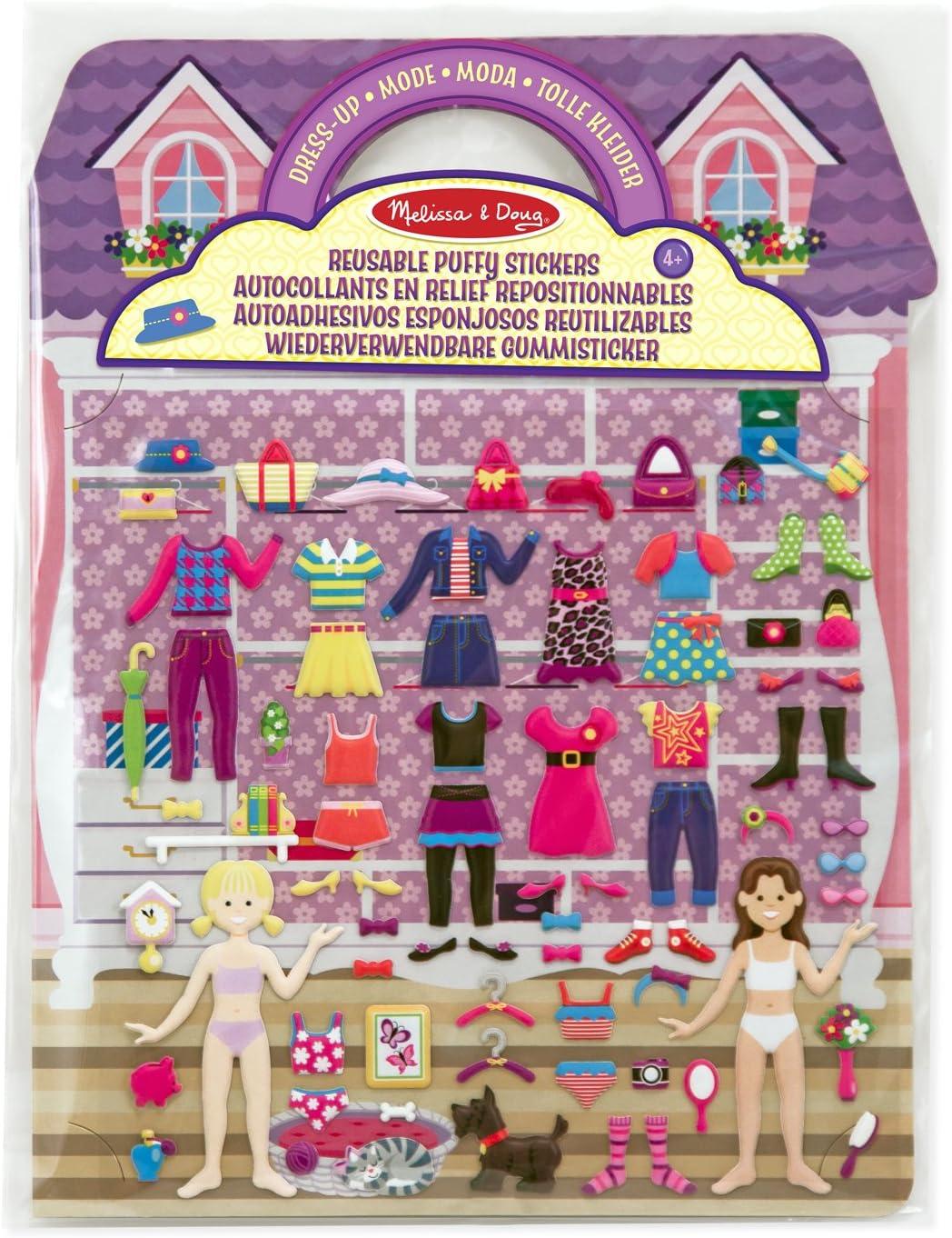 Melissa /& Doug Aktivit/ätenbuch mit wiederverwendbaren Gummistickern 76 Sticker Tolle Kleider zum Anziehen