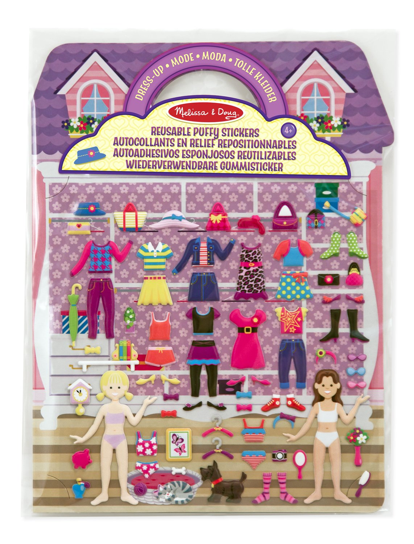 Melissa & Doug 12195 - Autoadhesivos esponjosos reutilizables juego con trajes de moda