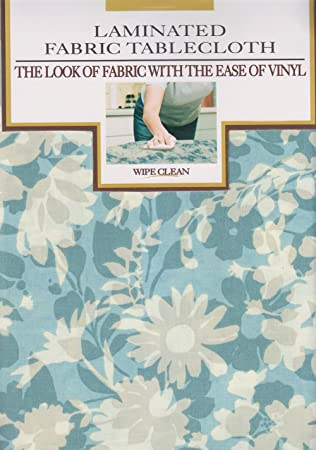 Blue Corryn Floral Print Laminated Fabric Tablecloth 60 X 104  Rectangle/Oblong