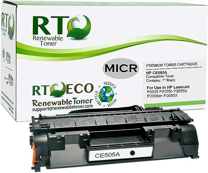 Myriad Re-Manufactured MICR Toner Cartridges Bulk: MHCE505X P2055D P2055DN 2 MICR Toner Cartridges Replacement for HP CE505X; Models: Laserjet P2055 etc; Black Ink