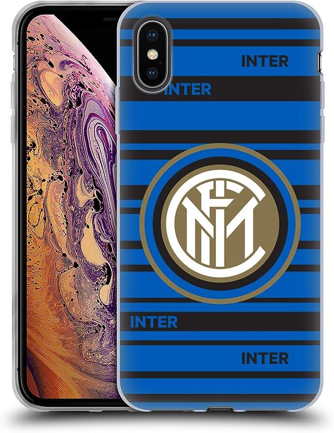 Head Case Designs Ufficiale Inter Milan Strisce 2017/18 Cresta Cover in Morbido Gel Compatibile con iPhone XS Max