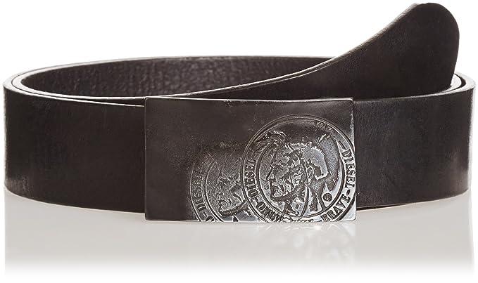 69ec4960cd94 DIESEL CEINTURE EN CUIR NOIR AVEC PLAQUE METALLIQUE EFFET VIEILLI WARRIOR  Taille - 100 - Noir