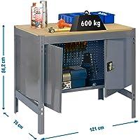 Banco de trabajo con armario BT0 Simonwork Gris/Madera Simonrack 842x1210x760 mms - mesa de trabajo - banco de trabajo…