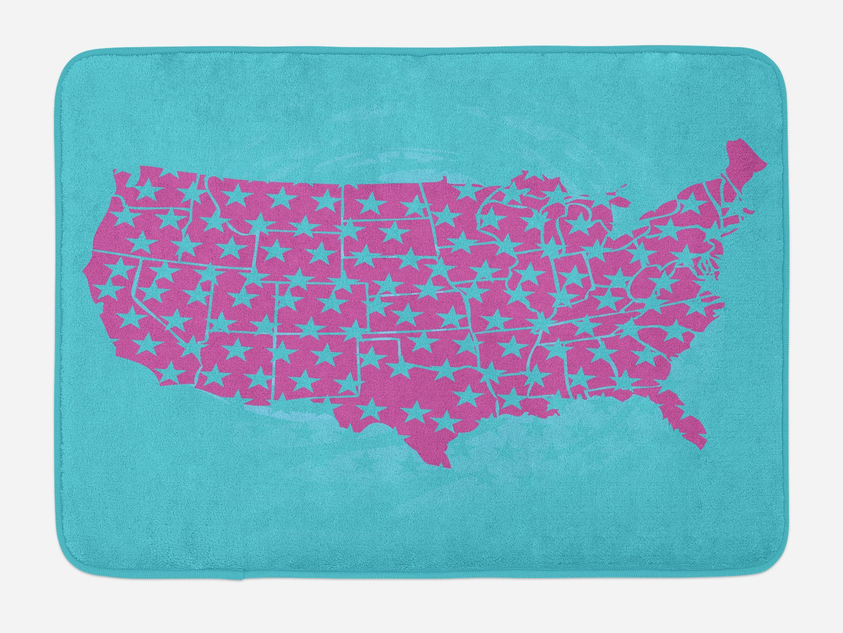 Lunarable USA Bath Mat, Pink Shade United States of America Map with Five Pointed Pentagram Stars Pattern, Plush Bathroom Decor Mat with Non Slip Backing, 29.5 W X 17.5 W Inches, Pale Blue Pink