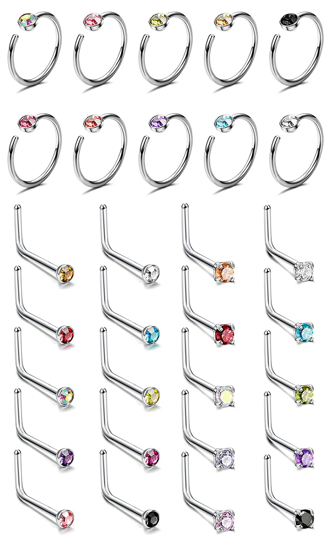 Thunaraz 20-30Pcs Surgical Steel L Shaped Hoop Fake Nose Ring Stud 20G CZ Nose Piercing Jewelry SE023-2