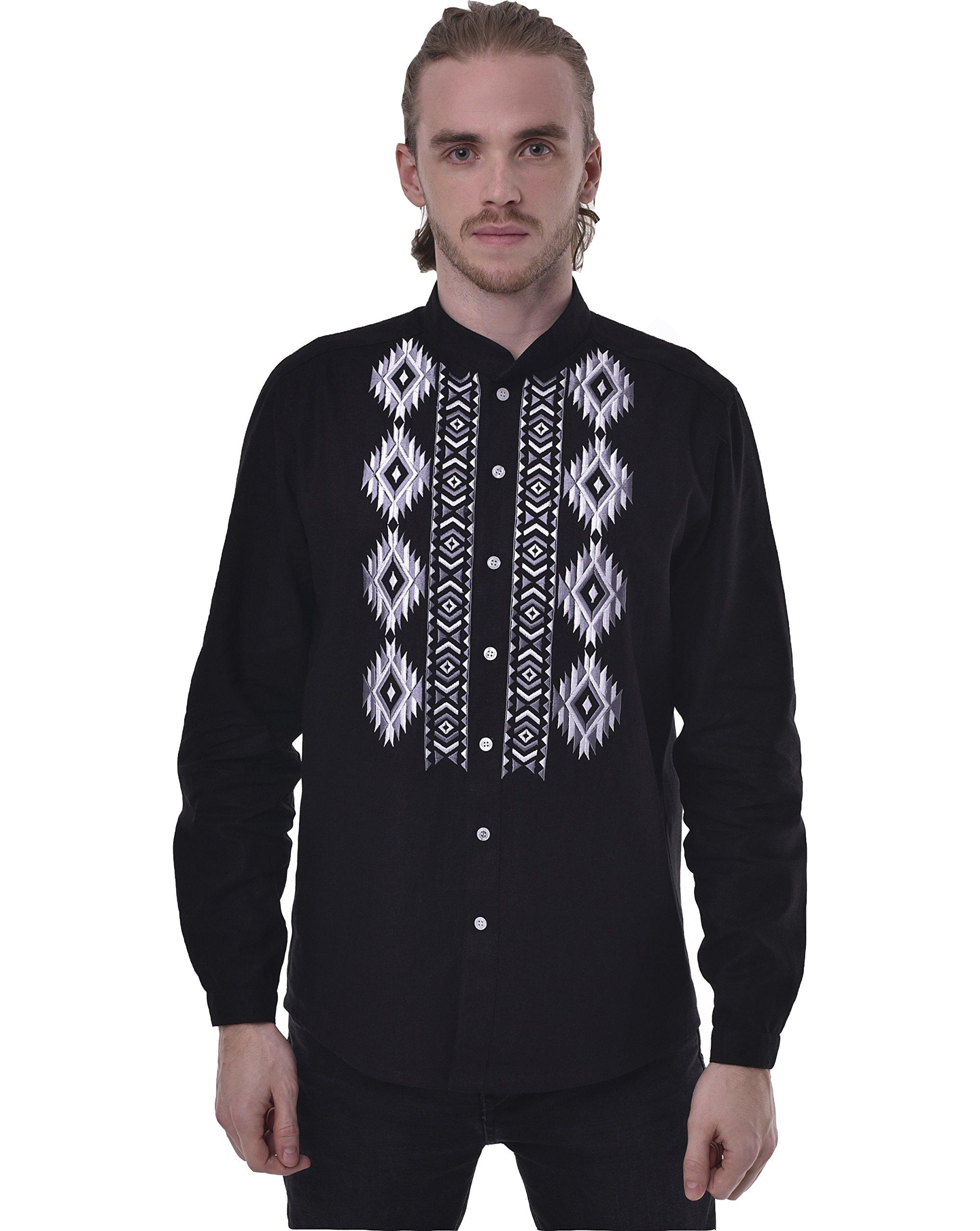 Men's Embroidered Shirt. Ukrainian Vyshyvanka. Traditional Ukrainian Linen Long Sleeve Shirts With Collar (XXL)