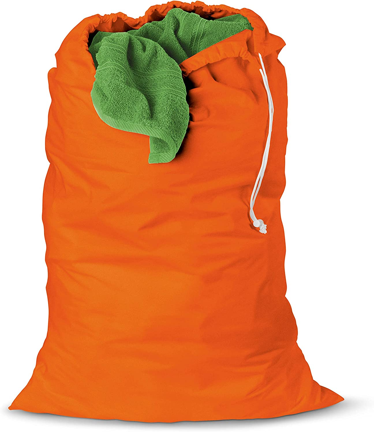 Honey-Can-Do LBG-01165 Cotton Laundry Bag with Drawstring, Orange, 24-inches L x 36-Inches H