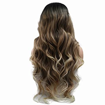 Amazon New Arrivel Body Wave Wig Dark Roots Ombre Brown Blonde