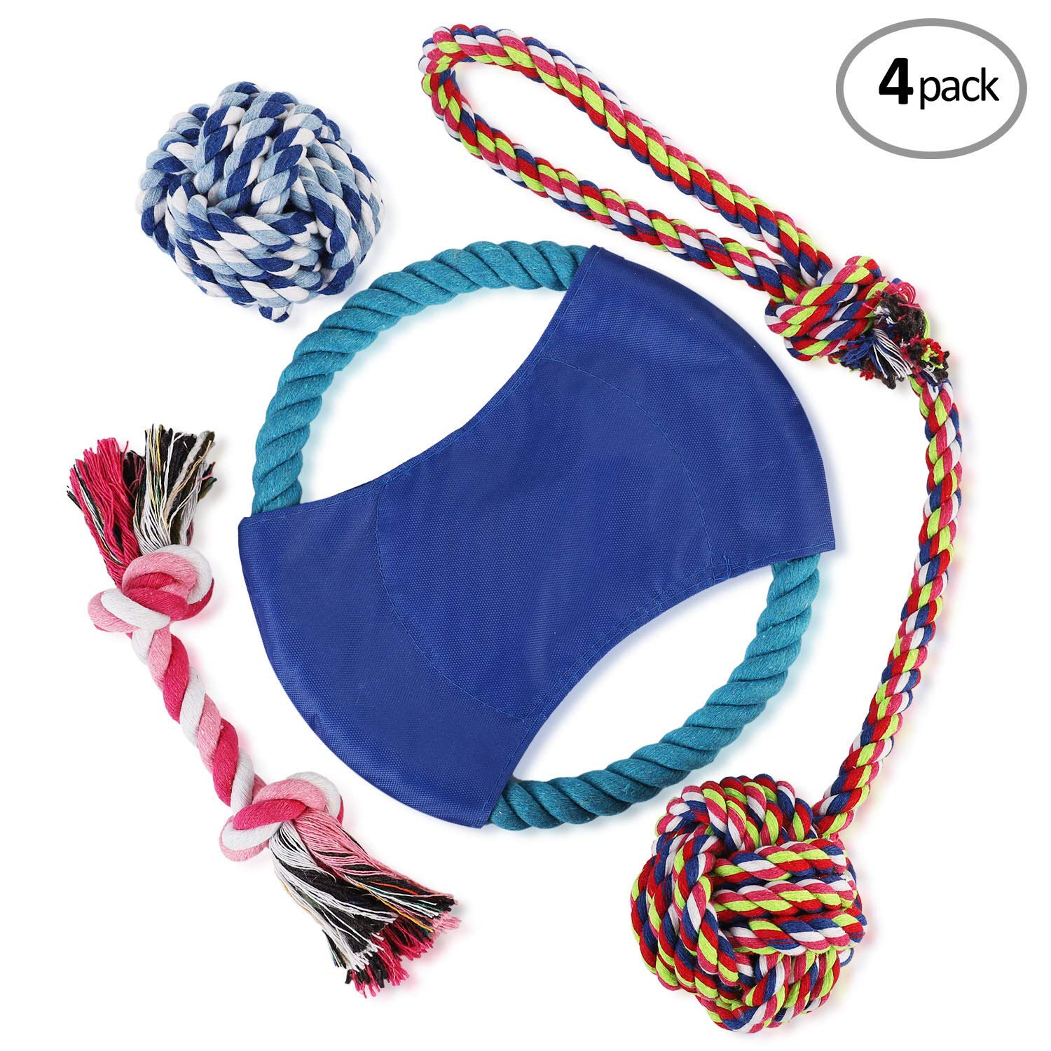 WOT I Dog Rope Toys - Dog Chew Toys Set of 4 -Durable Cotton Dog Toys for Small and Medium Breeds-Rope Toys for Training Tug-of-War Playing-Small Dog Toys-1