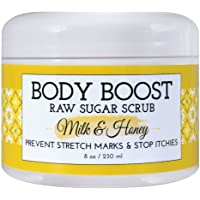 Body Boost Milk & Honey Sugar Scrub 8 oz- Treat Dry Skin Stretch Marks and Scars- Pregnancy and Nursing Safe- Allergen…