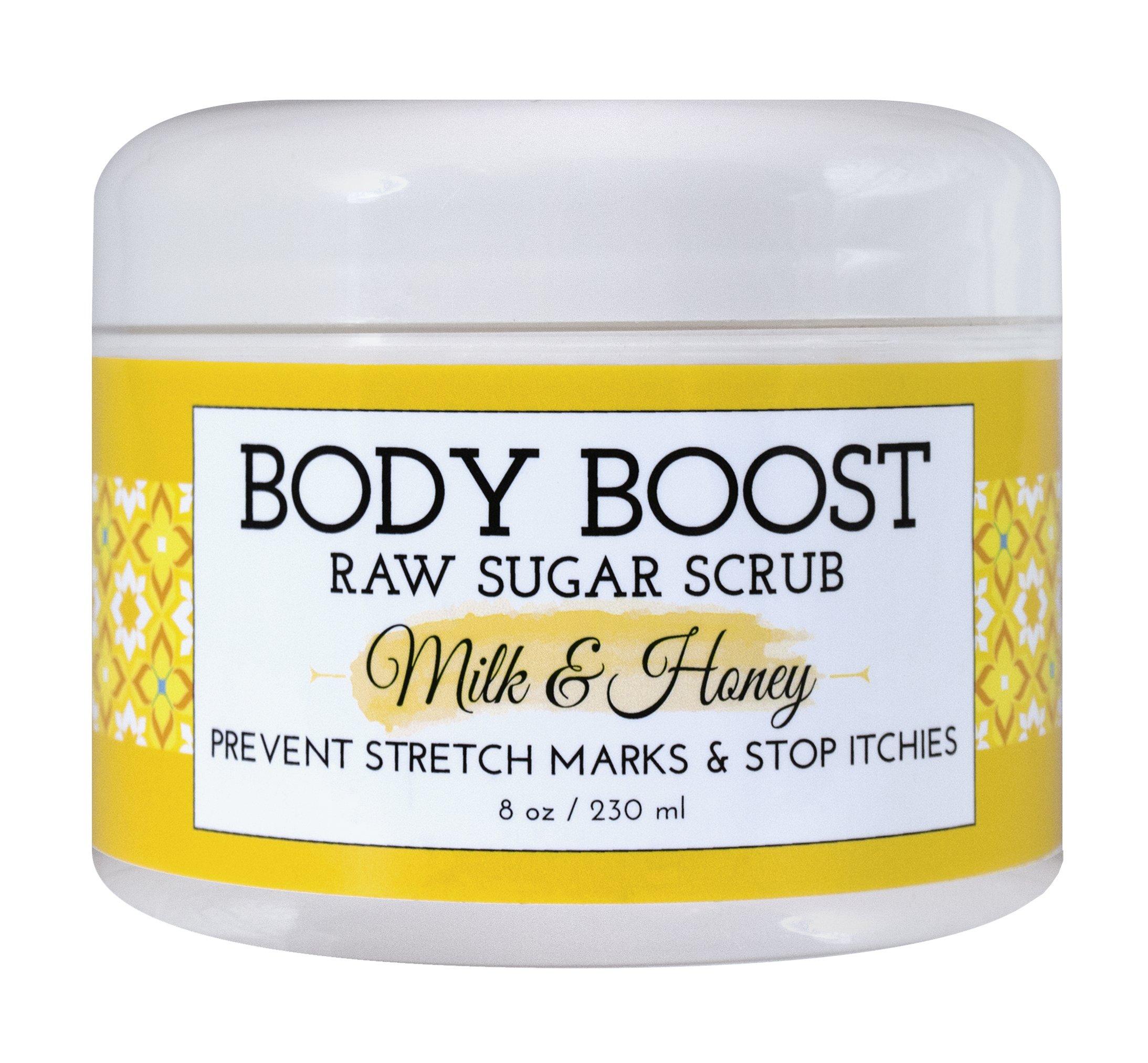 Body Boost Milk & Honey Sugar Scrub 8 oz- Pregnancy & Nursing Safe Skin Care
