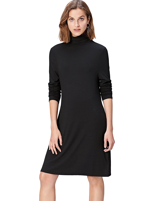 TALLA 44 (Talla del Fabricante: X-Large). find. Vestido de Canalé con Cuello Alto para Mujer Schwarz (Black) 44 (Talla del fabricante: X-Large)