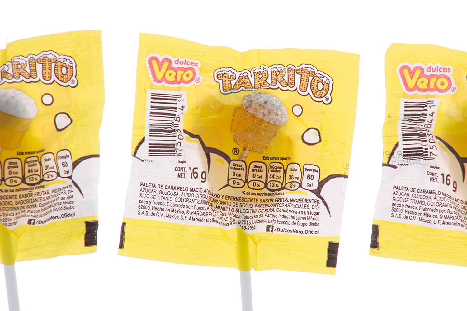 Amazon.com : Authentic Sabores- Vero Tarrito Hardcandy Lollipop Acidulated Pineapples and Lemon Flavor 40 pieces and Coronado Paleta de Cajeta Goat Milk ...