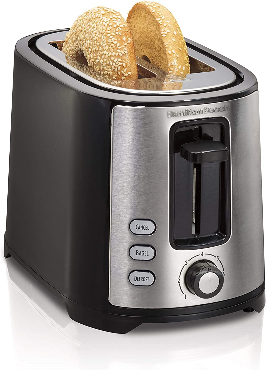 Hamilton Beach Beach Extra-Wide 2 Slice Slot Toaster, Black (22633) (Renewed)