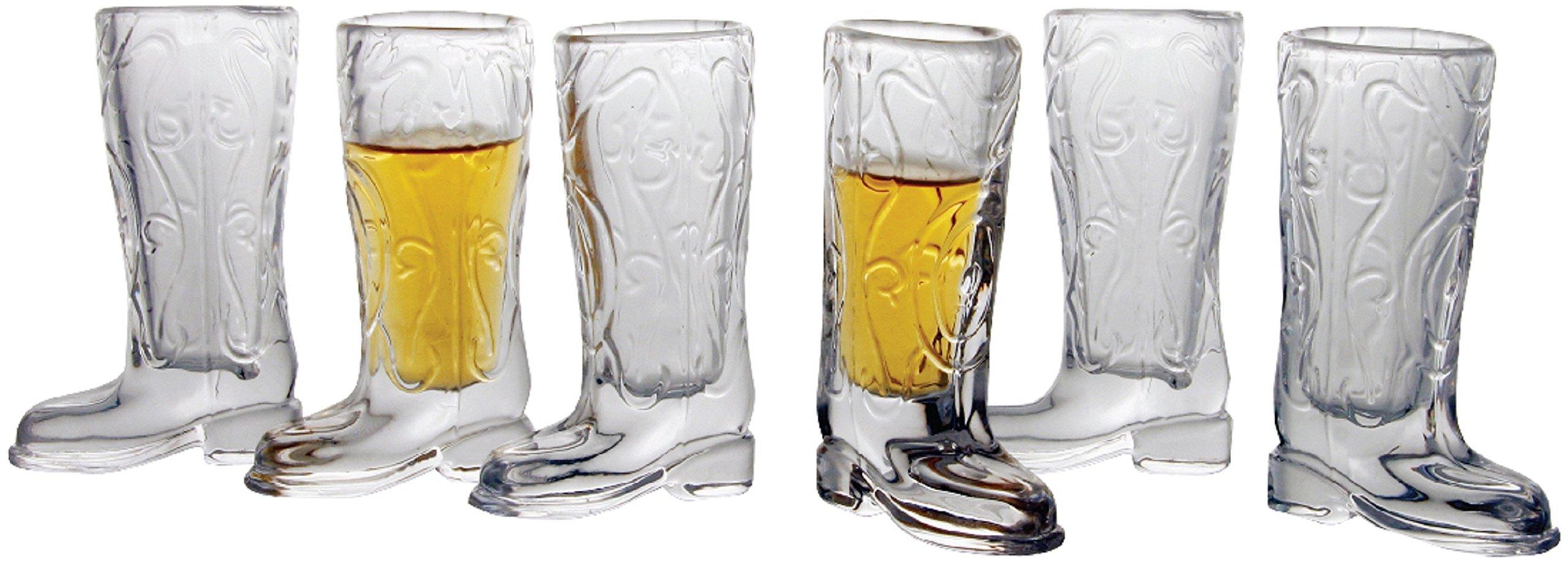 Circleware Kickback Whiskey Glass Shot Glasses Funny Cowboy Boots, Set of 6, Heavy Base Entertainment Beverage Drinking Glassware for Liquor and Bar Barrel Dining Decor, 6 Boot Shots, 1.5 oz