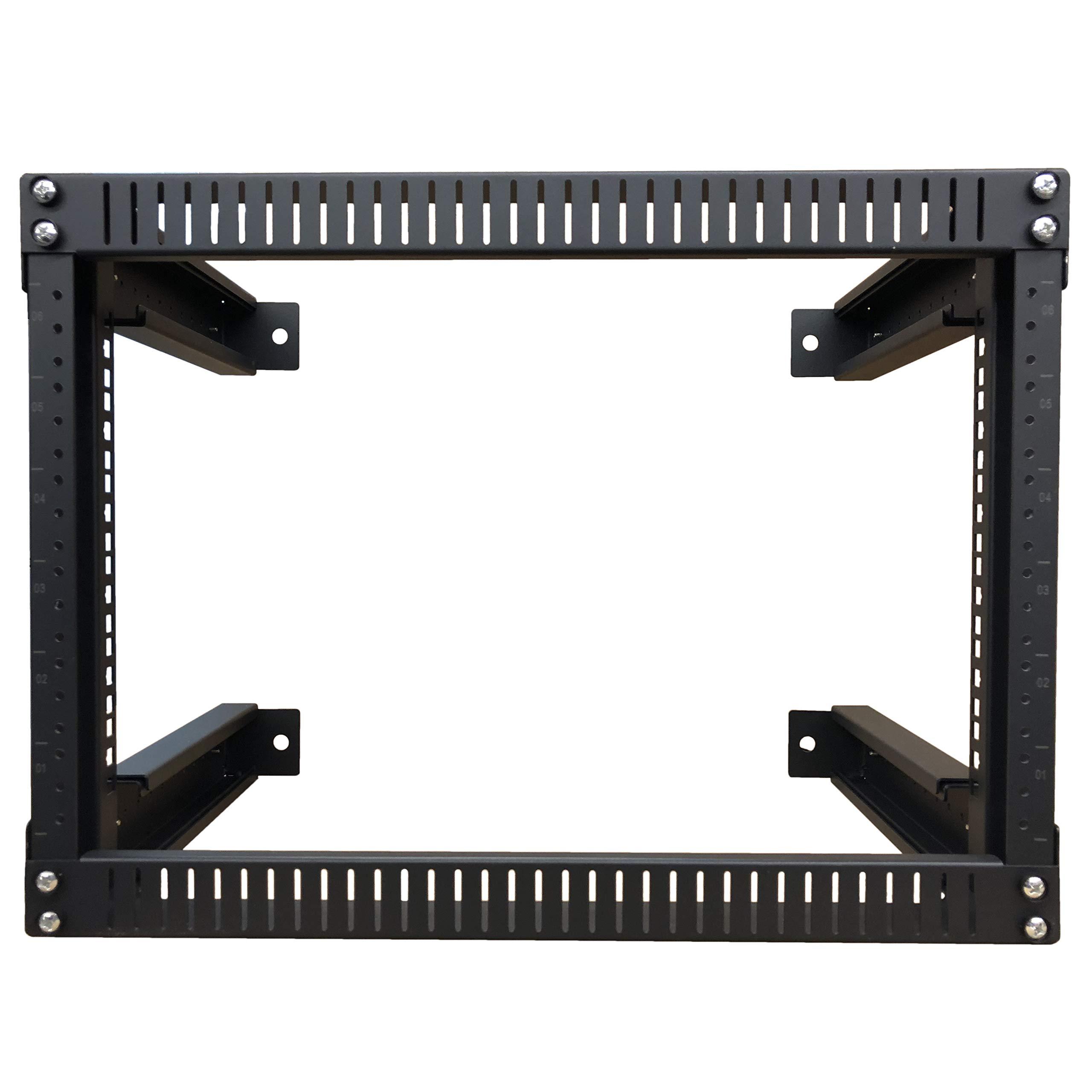 Kenuco 9U Adjustable Depth Wall Mount Open Frame Steel Network Equipment Rack 17.75 Inch Deep by KENUCO (Image #3)