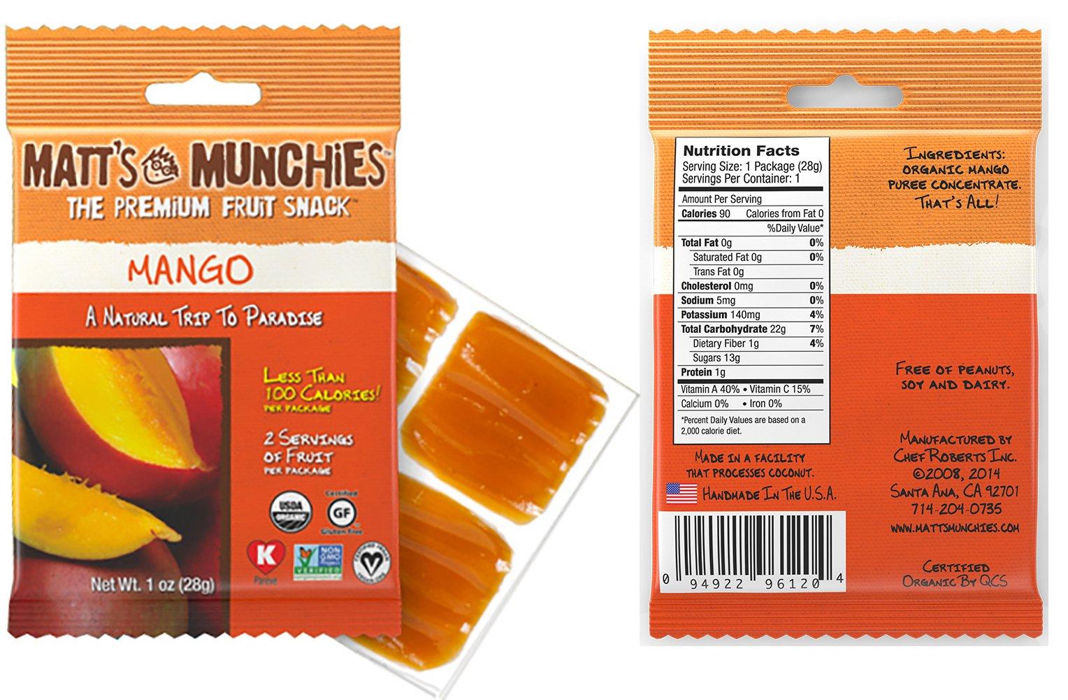 Matt's Munchies Tropical Assortment Organic Non-GMO Fruit Leather Peelable Fruit Snacks 25 Count Variety Pack Caddy - Mango, Island Mango, Tropical Punch, Banana Coconut & Apple by Matt's Munchies (Image #5)