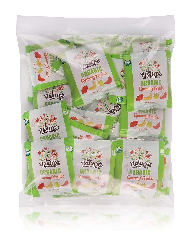 Natures Temptations Organic Gummy Fruits, 0.7 OZ. Snack Packs, 50 pack